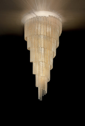 Mid Century Cascading Chandelier with Hand Cut Amber Graniglia Glass