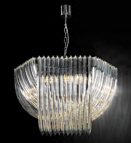 Mid Century-style Murano Glass Curved Prism chandelier in 3 Sizes