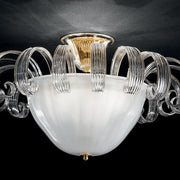 Milk white Murano glass ceiling light with crystal decorations