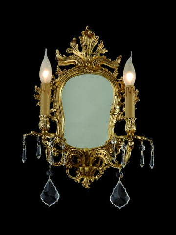 Ornate candle-style mirror light for the wall