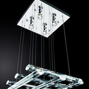 Contemporary Crystal and Chrome Ceiling Pendant