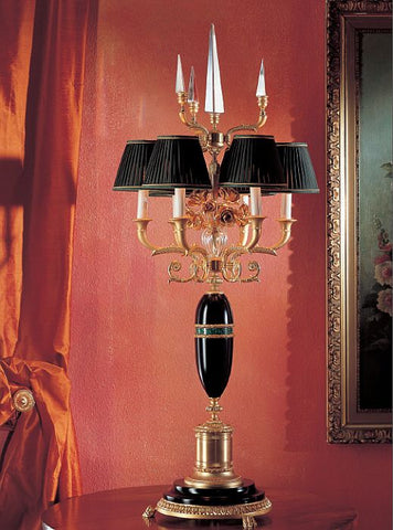 Black wood and Italian crystal gold-plated table lamp