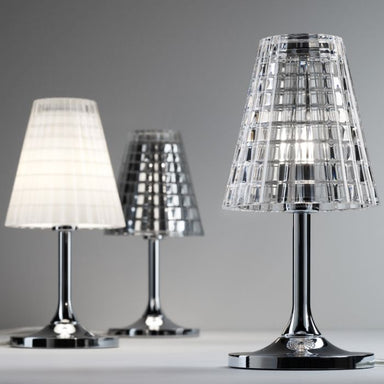 Small Fabbian Flow B01 chrome white or clear crystal table lamp