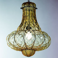 Amber Murano glass lantern with baloton finish