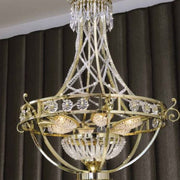 Empire-style Asfour crystal and gold Italian chandelier