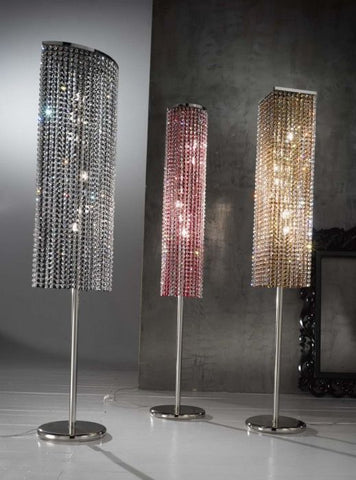 Red, amber or black crystal cylinder floor lamp
