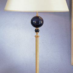 Italian floor lamp with blue enamel globe and black marble foot