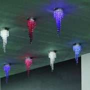 Chrome ceiling light with blue crystals - more colours available
