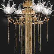Exotic golden floor lamp with Swarovski crystal elements