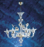 Murano Chandelier with blue crystal flowers