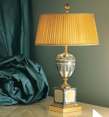 Classic Italian blue, white and beige stone mosaic table lamp