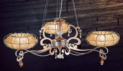 3 arm modern iron chandelier with shades and Strass crystals