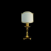 24 carat gold and brass table light with white shade