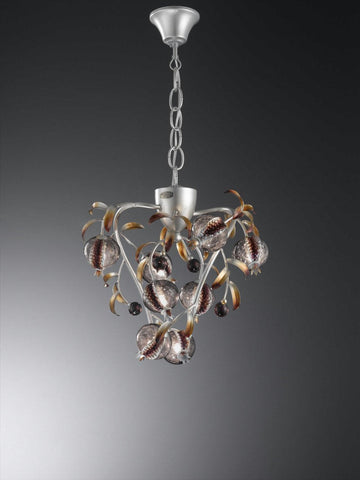 Rustic platinum ceiling light with amethyst glass berries