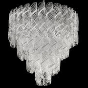 Bespoke 70s style white and clear Murano glass chandelier