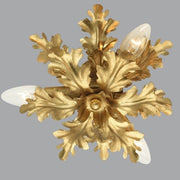 Three Lamp Leaf-inspired Ceiling Light in Gold Metal