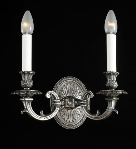 Traditional Italian pewter double wall chandelier
