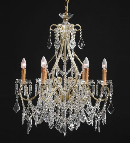 6 light gold chandelier with Bohemian crystals