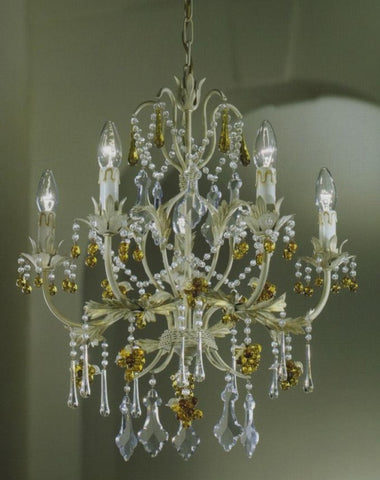 Ivory & gold 5 arm chandelier with Murano glass fruits