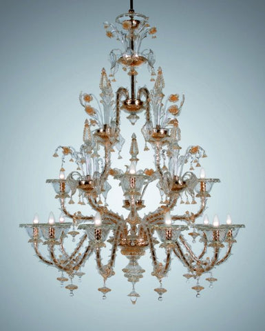 Gold & clear glass 12 light Murano Rezzonico style chandelier
