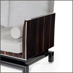 Luxurious Italian black wood-framed sofa