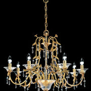 8 light Italian gold chandelier with Murano glass bobeches