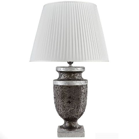 Italian ceramic table lamp with silver and black damask design