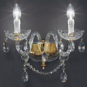 Brass and lead crystal wall chandelier with 2 lights