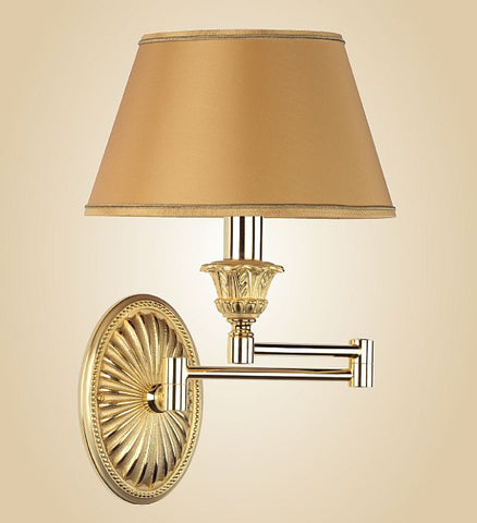 Italian wall light with gold shade and extendable bracket