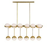 Brass Chandelier with White Globe Elements