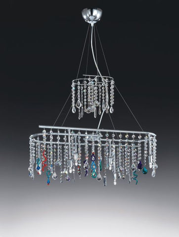 Italian glass chandelier with clear & coloured crystals