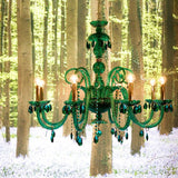 Clear, blue, or green crystal & glass chandelier