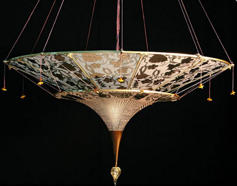 Gold Fortuny-style chandelier in Murano glass