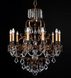 10 Light Luxury Brass Chandelier with Crystal Glass Pendants