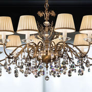 Golden chandelier with Swarovski crystals and 12 shades