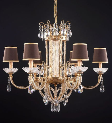 6 Light Chandelier with Crystal Glass Pendants and Shades