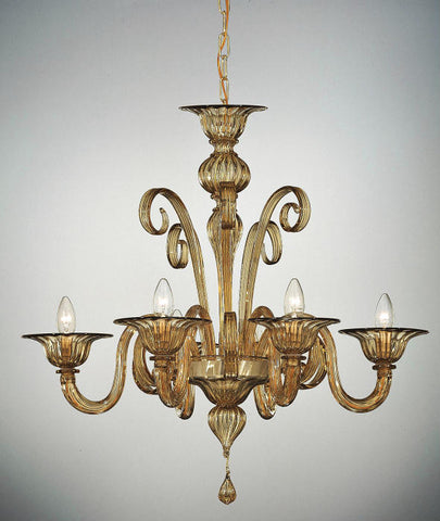 Smoked amber glass 6 light Murano glass chandelier