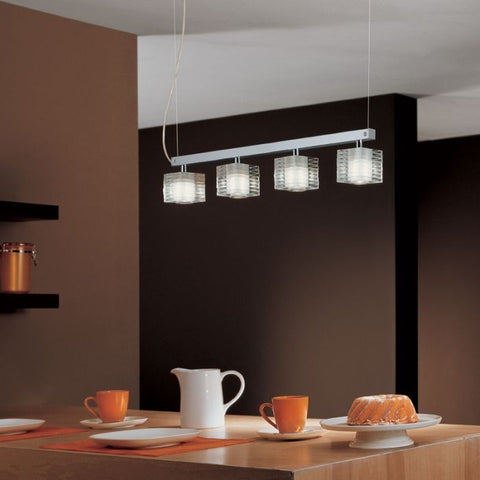 Modern clear Murano glass and chrome island lights