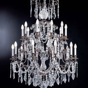 20 Light Brass Chandelier with Bohemian Crystals