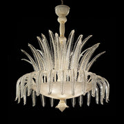 White, gold & clear Murano glass leaf chandelier