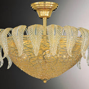 Murano light fitting with clear glass and gold leaves