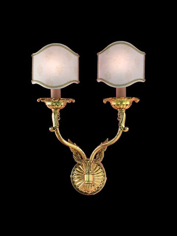 Cast Brass Wall Light with Shades