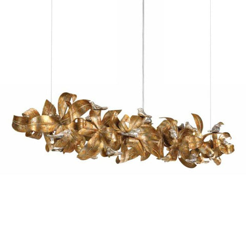 Gold Leaves Metal Chandelier with Silver Birds