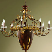 12 Light dark wood effect  chandelier