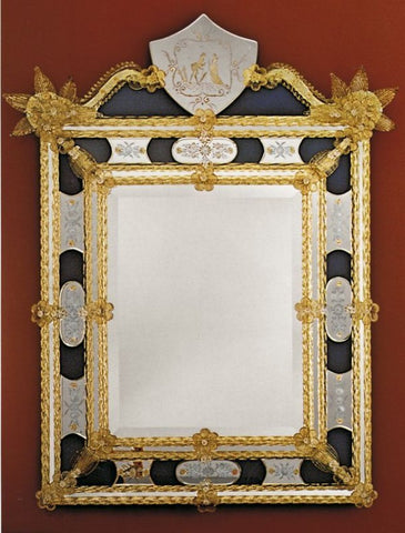 Beautifully engraved Venetian mirror in custom colours