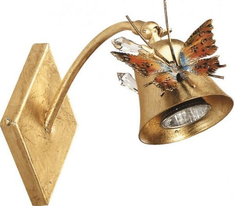 Gold Finished Metal Wall Spotlight with Butterfly and Glass Crys