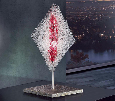 Spun-glass and shiny nickel table lamp with red decoration