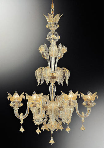 Gold and clear glass 6 light Murano glass flower chandelier
