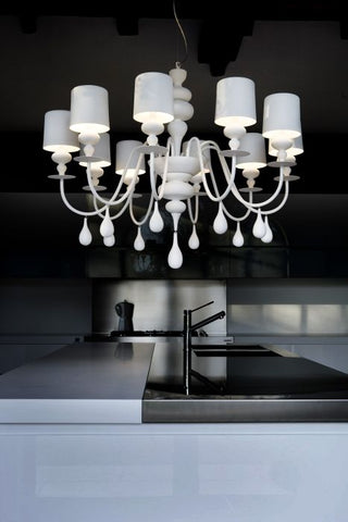Modern 10 light white coated wood chandelier