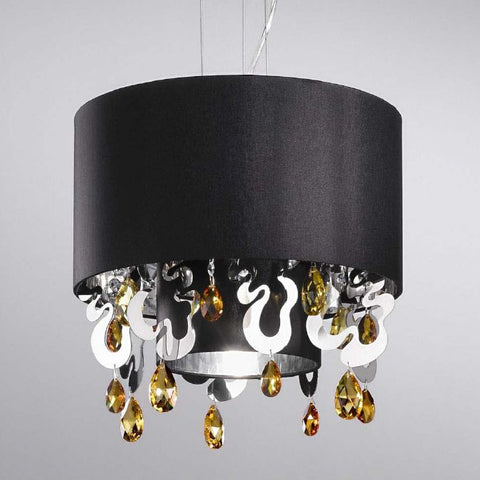 Topaz Swarovski crystal ceiling light with black shade